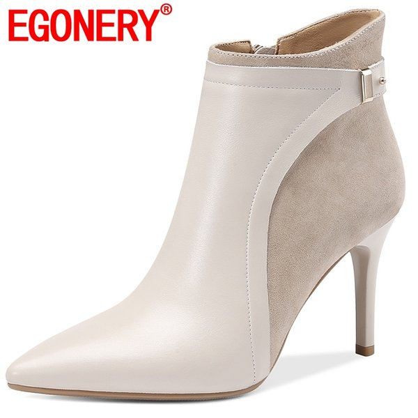 egonery cow leather booties 2019 fashion party flock ankle boots black beige metal decoration winter 8.5cm high heels shoes
