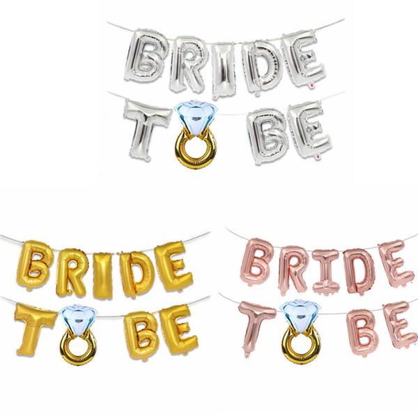 Hochzeitsdekoration Brief Luftballons Kreative 16 zoll Gold Silber Braut Brief Folienballons Diamant Ring Party Decor TTA1141