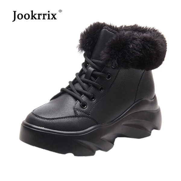 2018 Casual White Shoes Women Fashion Brand Warm Snow Boots Lady chaussure Winter Female footware Cross-tied with Fur