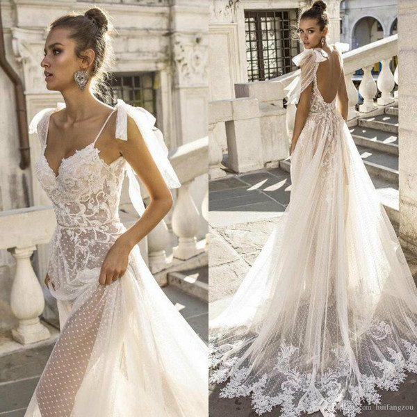 top popular Real Image Boho A-line Wedding Dresses Spaghetti Straps Illusion Lace Backless Bridal Gowns Vestido De Novia Beach Wedding Dress Cheap 2020