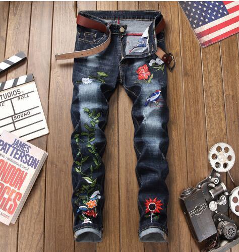 2019 nouvelle arrivée! Jeans européens et américains pantalons jambe droite de l'automne et la broderie d'hiver des hommes fermeture à glissière hommes ouverts