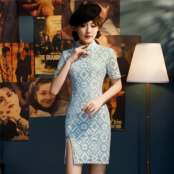 Shanghai Story New Sale Short Sleeve Faux Silk Qipao Lace Cheongsam Dress Chinese Traditional Dress for Women