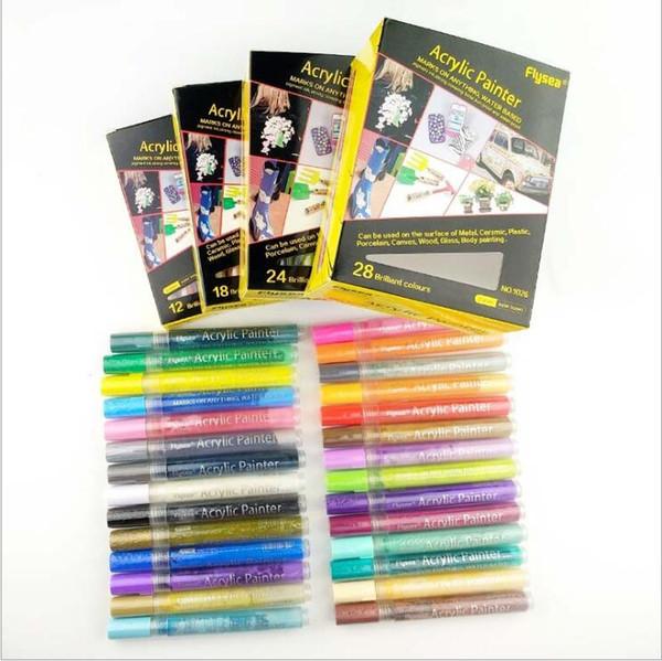 best selling Ceramic Acrylic Marker Acrylic Paint Pens Painting Art Markers Set Permanent Paint Pen Fashion DIY Crafts Manga Pen School Supplies D7130
