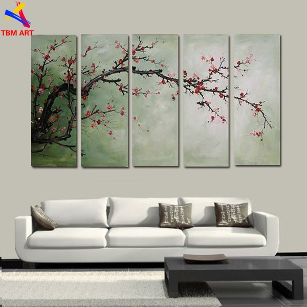 The Plum Blossom Canvas Painting Handmade Modern Abstract Oil Painting on Canvas Chinese Flower Oil Painting No Framed JYJLV208