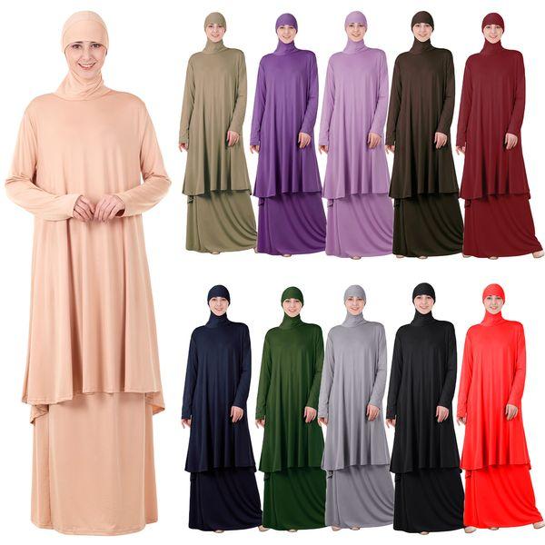Рамадан Мусульманские Женщины С Длинным Рукавом С Капюшоном Топы Юбка Абая Две Части Платье Макси Кафтан Джилбаб Исламская Молитва Одежда Ближний Восток