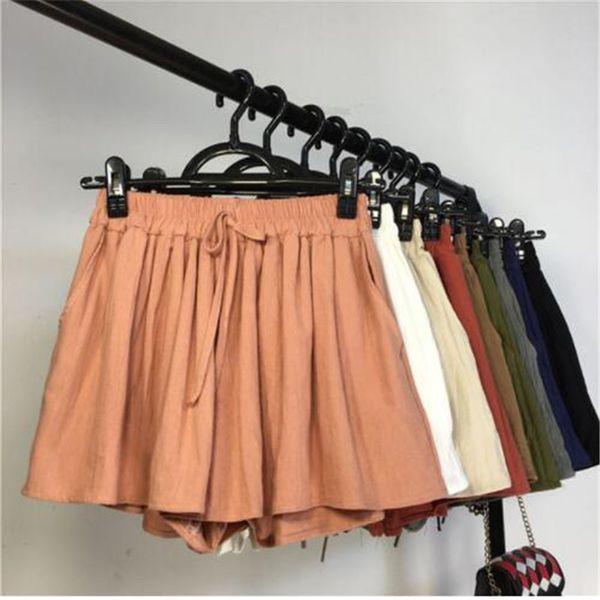 Nouvel été solide coton lâche coton lin shorts femmes taille haute élastique jambe large shorts casual tout-match mince femme OL Mw318