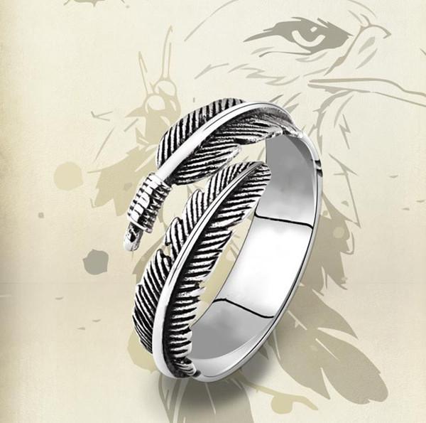Vintage Kadınlar için 925 Ayar Gümüş Tay Gümüş Tüy Yüzük Takı Hediye Parmak Açık Tüy Yüzükler Tek Punk Kafatası Yüzük