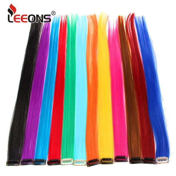 Leeons Clip-In One Piece Pour Ombre Extensions de Cheveux Pure Color Longs Cheveux Synthétiques Faux Pièces Clip Dans 2 Tone Hair