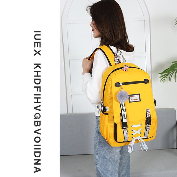 Litthing Women Backpacks School Bags For Teenager Girls Student Larger Capacity USB Charge Laptop Backpack Female Book Bag
