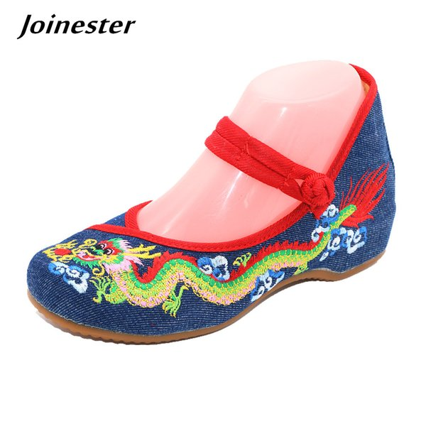 Designer Dress Shoes Chinese Ethnic Dragon Embroidered Women's Canvas Casual Ankle Strap Round Toe Vintage Wedges Pumps Mary Jane Ladies