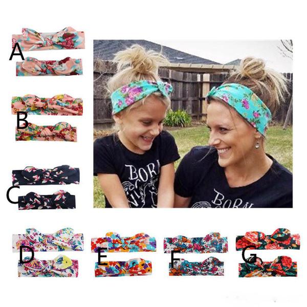 Wholesale parent-child designs bow elastic hair band mom and baby knot headband rabbit ears print headband Hair Accessories