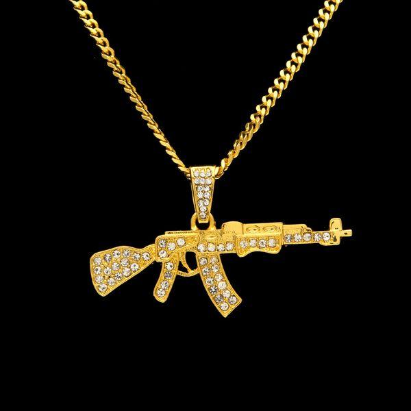 Hiphop Cheio de Diamante Rifle Pingente Colares Para O Sexo Masculino New Arrival Hip Hop Acessórios de Festa de Luxo Por Atacado