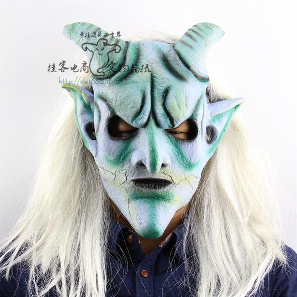 Longo cabelo branco com chifres demônio horrível máscaras de Halloween sala privada Escape Dress up máscara longa queixo Devil Facemask