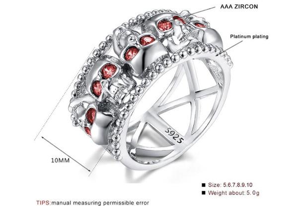 10 mm Nuevo anillo de calavera creativa Anillo de cristal de circón tamaño de mezcla 6 a 10
