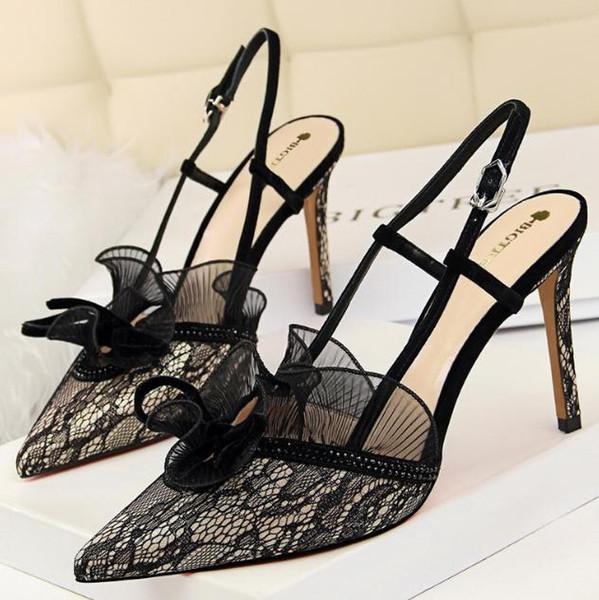 Européens et américains talons hauts fashion sexy banquet chaussures de femmes talon haut dentelle strass sandales creuses dashu58