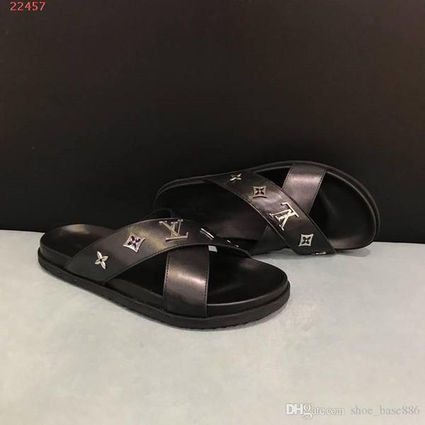 Moda erkekler ayakkabı Siyah timsah tahıl plaj terlik terlik ve sandalet perçinler için son tasarım boyutu 38-45