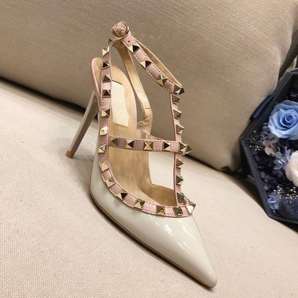 Designer shoes Ms. High heel Mid heel Flat bottom pointed sandals Liu Ding fine with dinner dress famous women's shoes Packaging LOGO