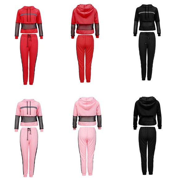 Womens tracksuits / hoodies + slim pants 2 Pieces fashion Bare belly button womens designer Tracksuits casual Suit Sweatshirt + pants s-xxxl