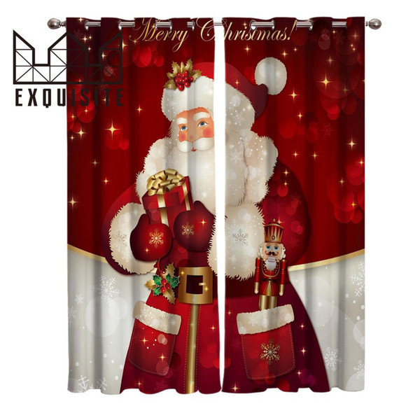 best selling Exquisite House Merry Christans Santa Room Curtains Large Window Curtain Rod Living Room Bathroom Bedroom Kids Window Treatments