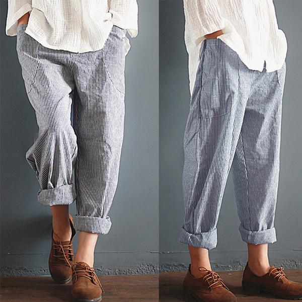 Большой 5xl Размер Хлопок Льняные Шаровары Женщины Полосатые Карманы Высокой Талией Обрезанные Летние Брюки Свободные Брюки Femme Pantalon Large