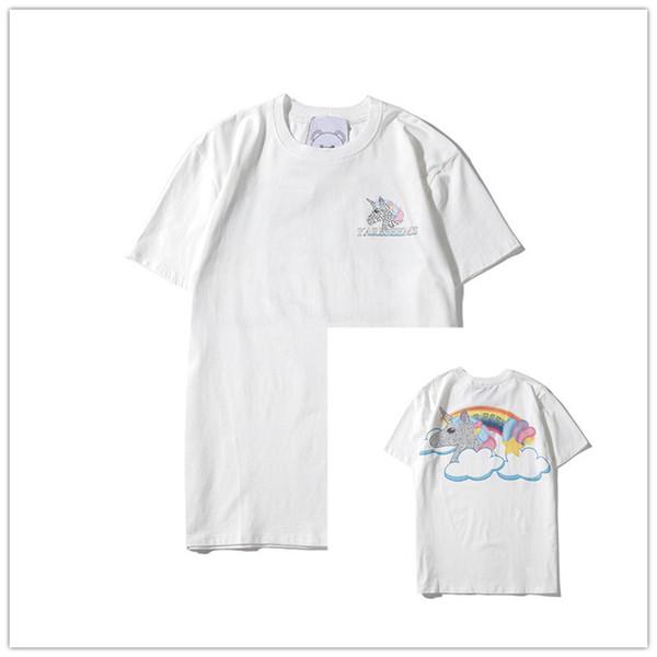 Unicorn Мужские Женские дизайнерские футболки Мода Марка Цветочные Буквенные Печать Блузы Повседневный лето с коротким рукавом O-образным вырезом Tshirt LJJ198275