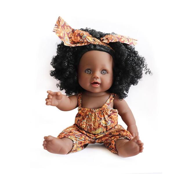 Afica Baby Doll Toys Suave de silicona Reborn Baby Realista Vinyl Doll Negro Reborn Girl Bebés Muñecas con paños Regalo de Navidad