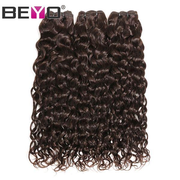 Wasser Welle Bundles Dunkelbraun Rohes Reines Indisches Haar 100% Echthaarwebart Bundles # 2 Farbe 3 Bundle Deals 10-24 Zoll Remy Beyo