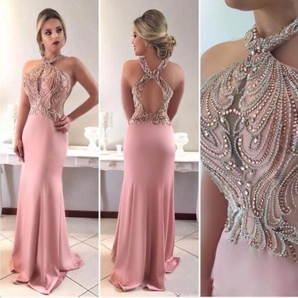 2019 Hot Pink Mermaid Prom Dresses Halter Keyhole Crystal Beading Sleeveless Hollow Back Custom Dubai Vestido Evening Dress Wear Party Gown