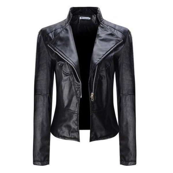 womens short jacket 2019 new spring Autumn slim casual black biker coat ladies PU Zipper moto Leather jackets