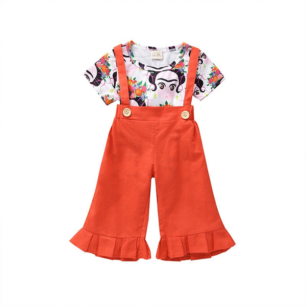 1-6 Years Old Little Girls cotton printed Suspenders 2pcs Set Cartoon Top + Strap Trousers Outfit INS 2019 Summer Children's Clothing Set