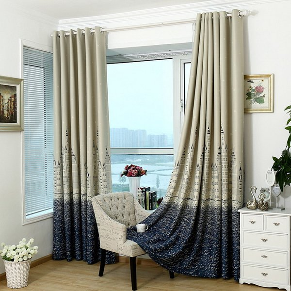 Finel Cartoon Castle Window Curtains for Kids Room Girls Boys Baby Bedroom Gradient Design Blackout Curtains Drapes T0.2