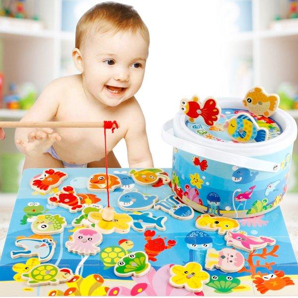 Puzzle per bambini Educazione precoce Blocchi di pesca Giocattoli per bambini Simulazione Puzzle di legno imbottigliato Giocattoli da pesca Montessori