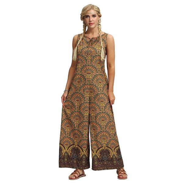 Women Boho Ethnic Print Wide Leg Jumpsuit Plus Size Sleeveless Jumpsuits Yellow High Waist Summer Loose Stylish Casual Rompers