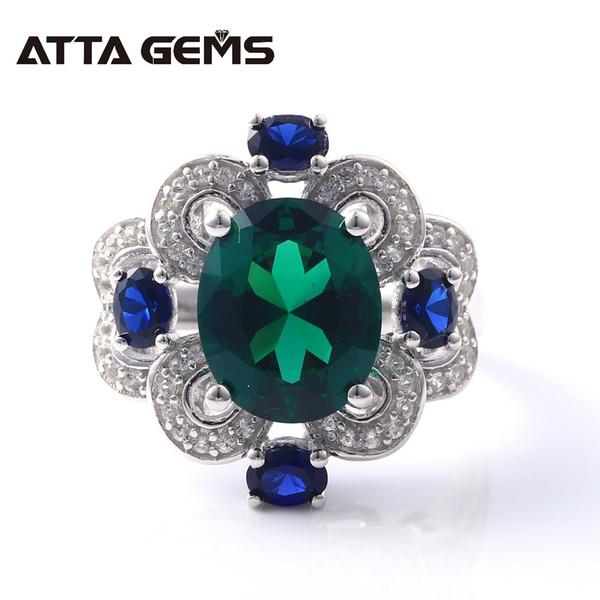 Esmeralda Verde Esterlina Anéis De Prata Unisex Design para Mulheres Homens Wedding Band 5.5 s Anéis de Prata Esmeralda Nano Sólida