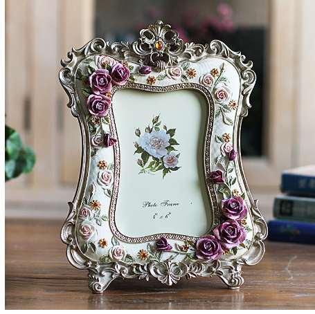 ElimElim 6 Inch Rose Resin Photo Frame Wedding Gift Crafts Desktop Decoration Picture Frame Wholesale