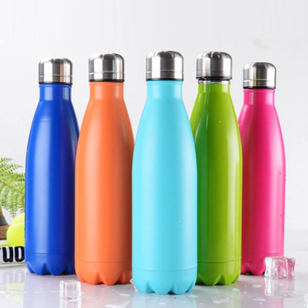Bouteille d'eau en acier inoxydable de bouteille de thermos de sport de forme de Cola faite sur commande de 500 ml pour l'extérieur ZZA336