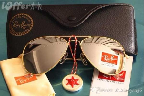 Designer Classic Pilot Sunglasses Mens Womes Sun Glasses Eyewear Gold Frame Brown 58mm 62mm Glass Lenses Large Metal With Better Brown Case