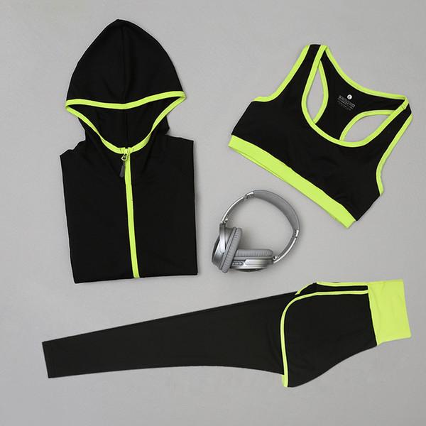Women Yoga Set Fitness Sports Sets Gym Workout Sportswear 1-3pcs Tracksuits Coat+Bra+High waist Yoga Pants Sport Leggings Suits