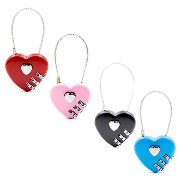 mini câble serrure à combinaison pour les cahiers cartable sac à dos portable forme de coeur amour mot de passe de verrouillage en plein air sac cadenas