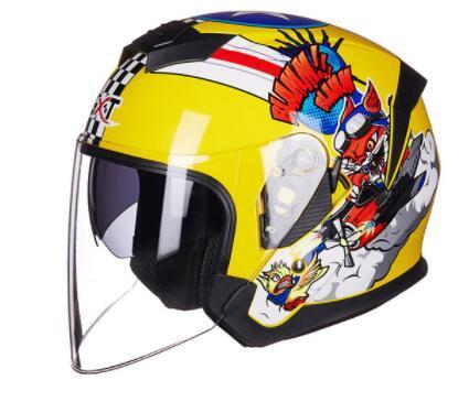 2019 Casco de motocicleta de doble lente Capacete Casco Novedad Casco de moto retro Casco de media cara envío gratis