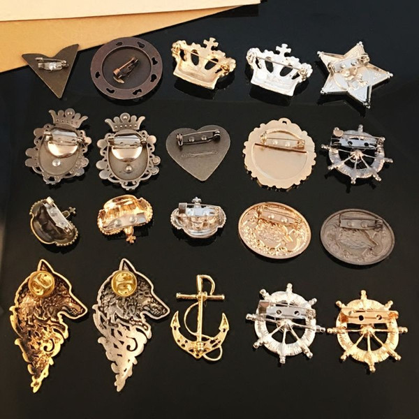 New Gold Crystal Crown Designer Brooches Rudder Anchor Star Alloy Women Collar Pins Brooch Wedding Jewelry Accessories
