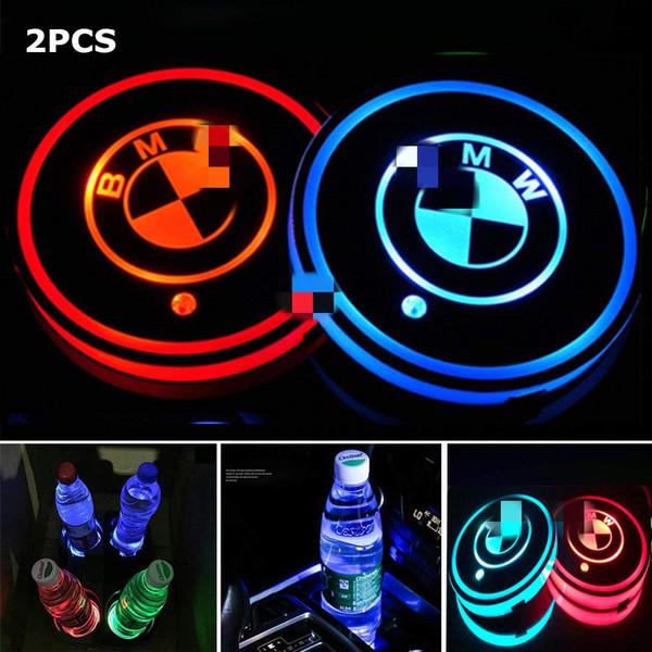 2 adet BMW için LED Araç Bardak Tutucu Işıkları, 7 Renk Değiştirme USB Şarj Mat Lüminesans Fincan Takımı, LED İç Atmosfer Lambası