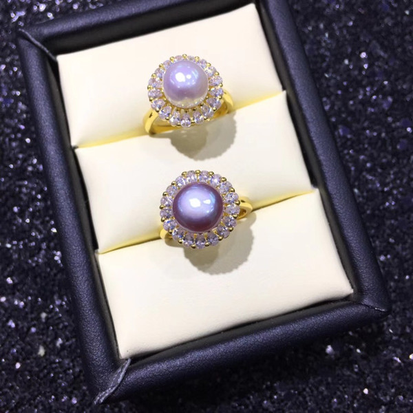 Anelli YIKALAISI anello gioielli 925 gioielli in argento sterling perla per le donne fine, 100% naturale 8-9 mm all'ingrosso Perla d'acqua dolce