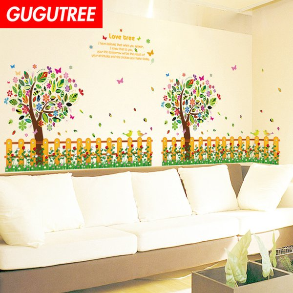 Decorate Home trees letter cartoon art wall sticker decoration Decals mural painting Removable Decor Wallpaper G-2374