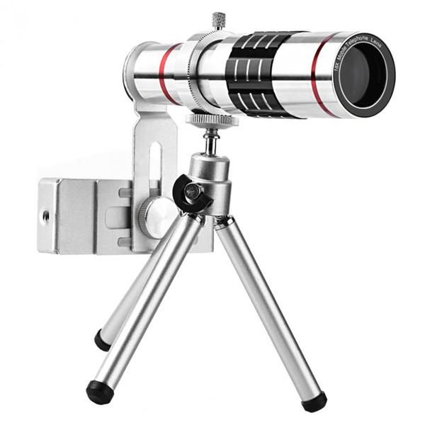 18x zoom óptico del telescopio teleobjetivo de Pez Universal Kit lentes de cámara del teléfono con el trípode para la mayoría del teléfono móvil inteligente