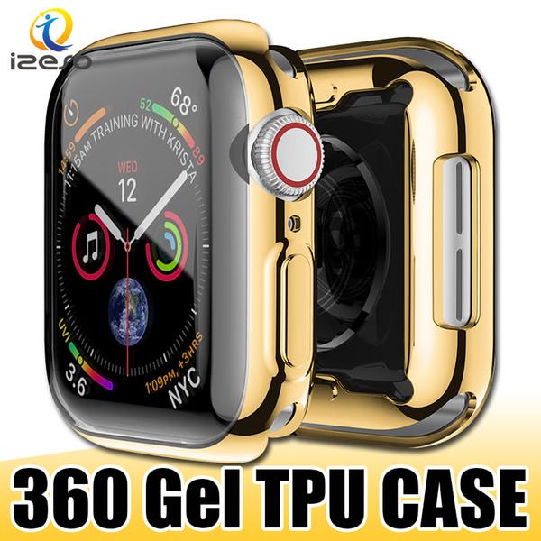 Para a apple watch series 4 40mm 44mm gel galvanizado tpu watch case cobertura completa watch cover protector para iwatch 4