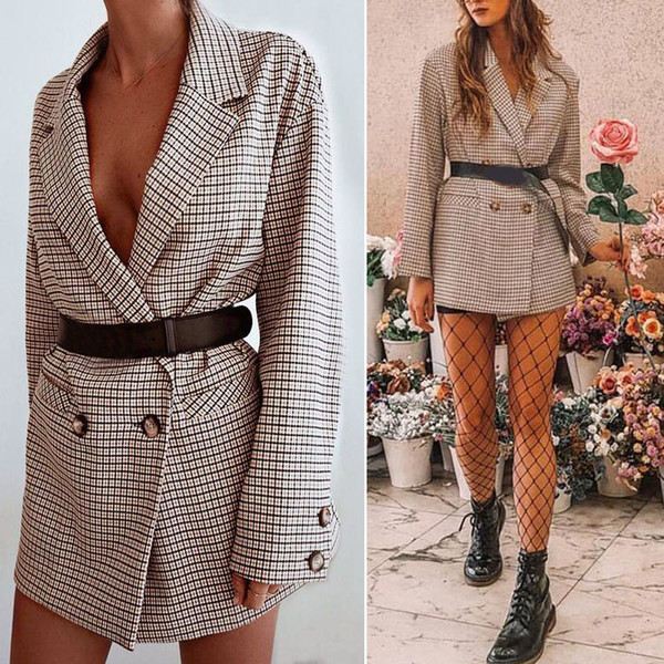 Women's Coats Suit Jacket Polyester Lapel Sexy Brand New Slim Fashion Long Sleeve Casual Business Office Lattice Hot Sale Coat