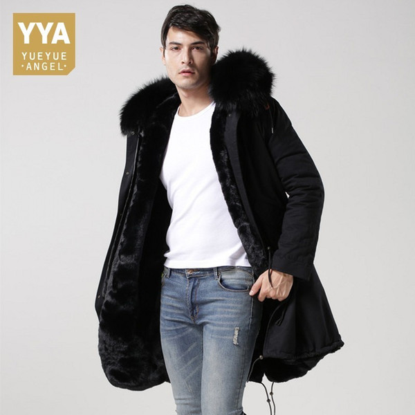 Top Brand Winter Real Fur Collar Hoodie Mens Parka Warm Fur Lining Overcoat Cotton Long Jackets Men Plus Size 4XL Coats