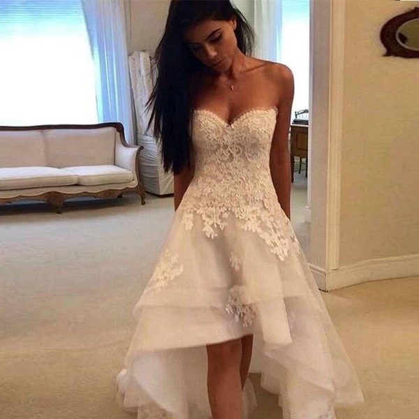 Elegant Lace A Line Wedding Dresses 2019 Sweetheart Tulle Applique High Low Layered Ruffles Summer Beach Wedding Bridal Gowns