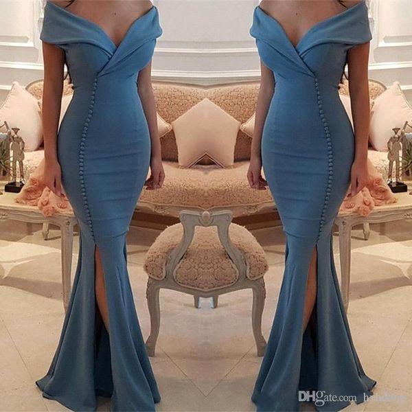 2019 Nouvelle Épaule Arabe Satin Sirène Robes De Soirée Ruché Split Formelle Celebrity Party Invité De Bal Robes Vestios De Novia 482